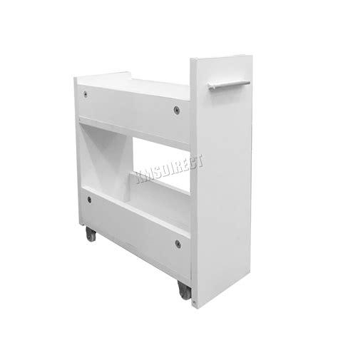 foxhunter slimline bathroom slide out storage drawer cabinet cupboard unit white ebay