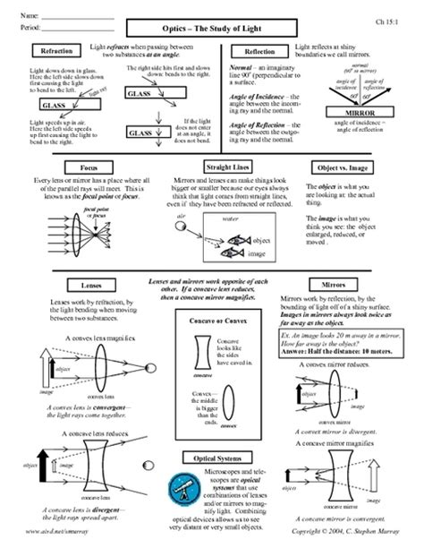 Concave And Convex Lenses Worksheet Free Worksheets Library  Download And Print Worksheets