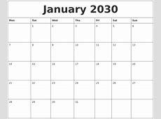 January 2030 Online Printable Calendar