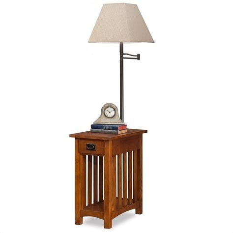 leick mission chairside solid wood l table medium in oak 10028
