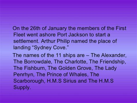 Boat Names Of The First Fleet by The Arrival Of The First Fleet By Olivia