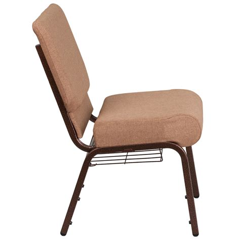 hercules series 21 w church chair in caramel fabric with cup book rack copper vein frame fd