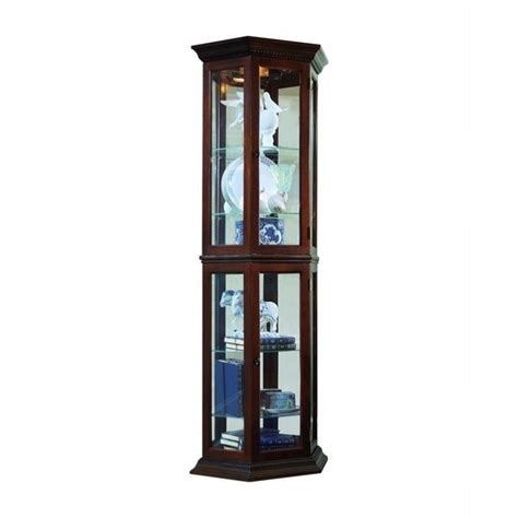 pulaski curios display cabinet traditional wall in rich brown ebay