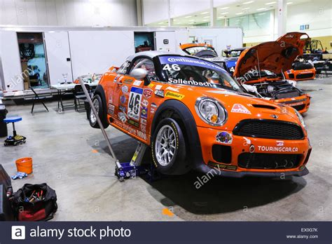 mini cooper race car jacked up for repair stock photo royalty free image 84835287 alamy