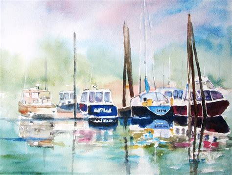 Boats And Harbors Online by Boat Harbor In Fog Painting By Carlin Blahnik