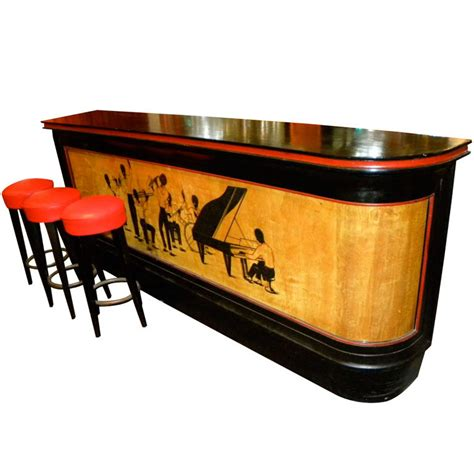 historically significant deco bar with stylized black jazz musicians sold items bars