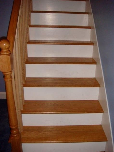 wood stair treads with tile risers for home design images