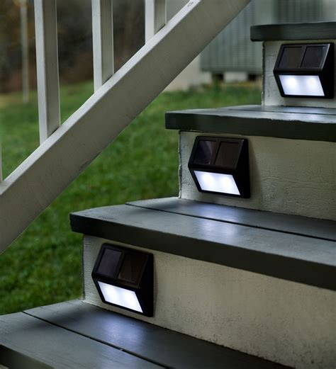 light up your outdoor stairway with plow hearth solar step lights must
