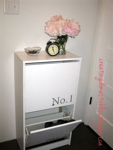 creating domestic bliss ikea bissa shoe cabinet makeover using wax paper transfers organizing