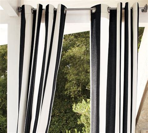 sunbrella 174 awning stripe outdoor grommet drape black white pottery barn curtains by