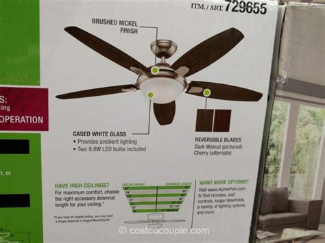 led contempo 54 ceiling fan brushed nickel finish