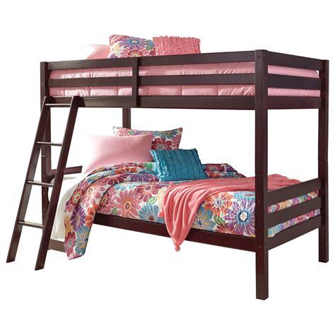 signature design by halanton solid pine bunk bed value city furniture bunk beds