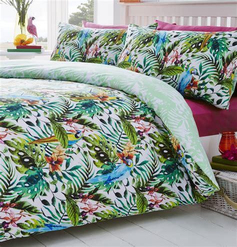 Luxury Tropical Duvet Quilt Cover Macaws Parrot Bedding