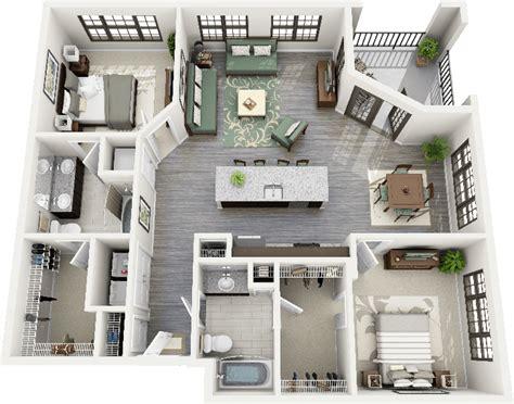tiny house floor plans small residential unit 3d floor 50 two quot 2 quot bedroom apartment house plans apartments 3d