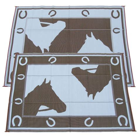 fireside patio mats chocolate horseshoe 9 ft x 12 ft