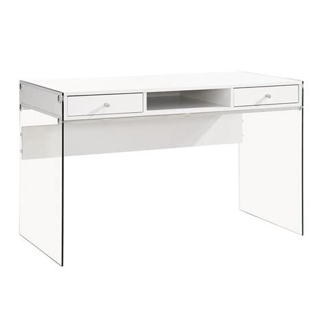 coaster 2 drawer modern computer desk in glossy white 800829