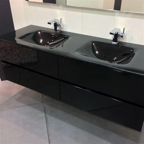 meuble salle de bain noir 150 cm 4 tiroirs plan verre glass