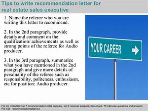Real estate sales executive recommendation letter