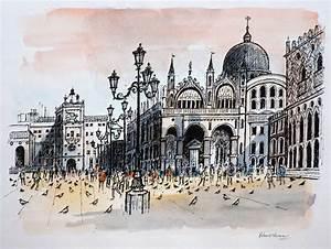 St Mark's Square Venice, Robert Tavener; original drawing.