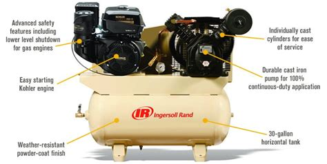 free shipping ingersoll rand air compressor 14 hp model 2475f14g gas powered air