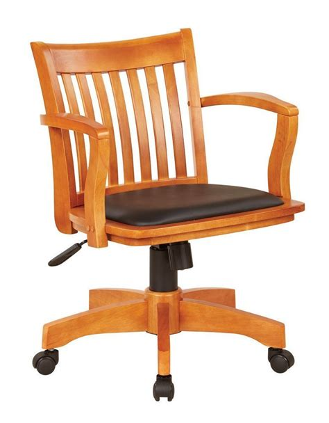 deluxe wood banker s chair with vinyl padded seat in fruit wood finish with black vinyl