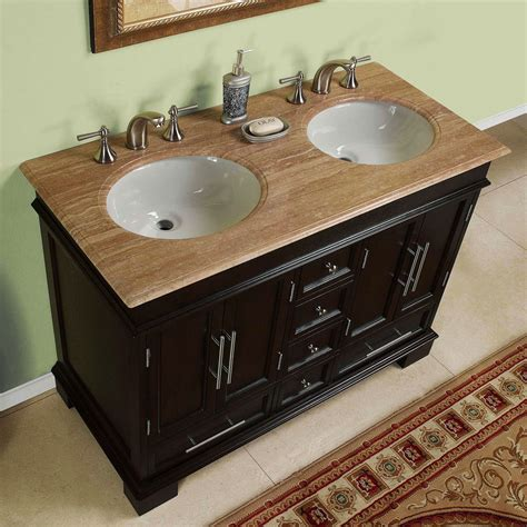 48 inch compact sink travertine top bathroom