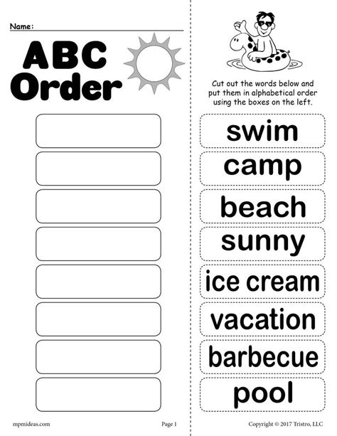Free Summer Alphabetical Order Worksheet! Supplyme