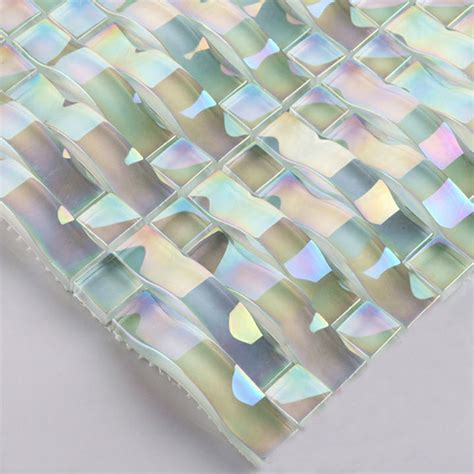 iridescent glass mosaic tile sheets arch kitchen mosaic