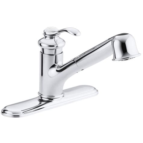 shop kohler fairfax polished chrome 1 handle pull out kitchen faucet at lowes