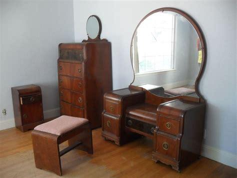 vtg 1930 s 1940 s waterfall 5 wood bedroom set dresser bed vanity ebay