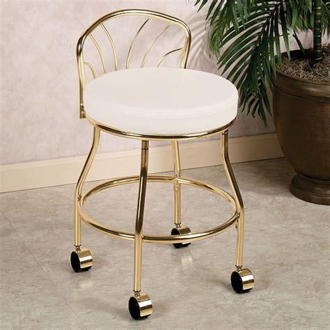 gold metal bathroom vanity chair on wheels with low back