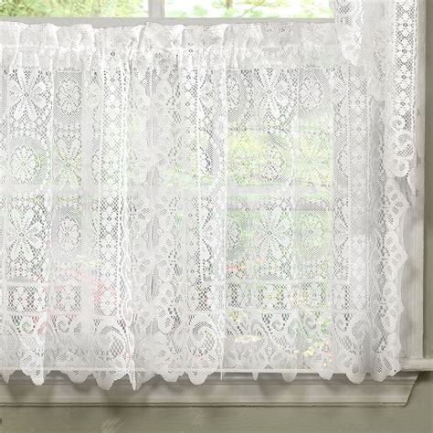 hopewell heavy white lace kitchen curtain choice of tier valance or swag curtains drapes