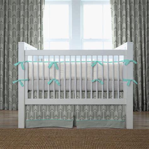gray and teal arrow crib bedding neutral baby bedding carousel designs