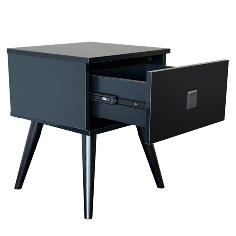 Vino Bedside Table with Drawer in Gloss Black   Buy Black Bedside Tables