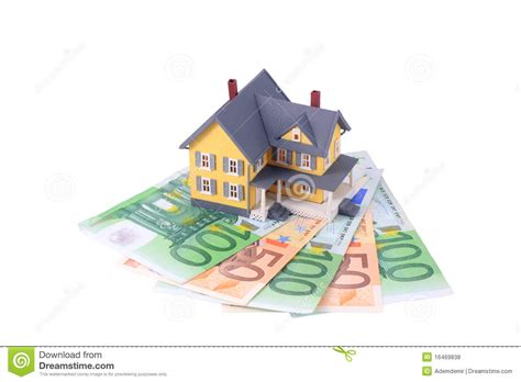 Home Design Unlimited Money : Miniature House Over Euro Money Isolated Stock Photo