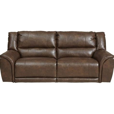 catnapper carmine lay flat power reclining leather sofa in timber 64151122319302319