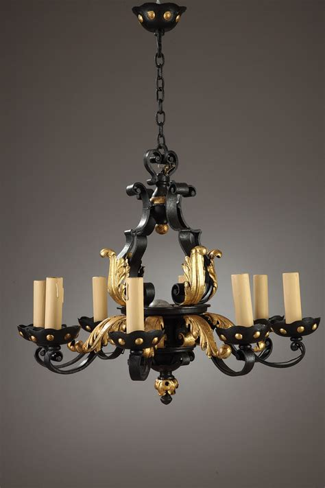 deco wrought iron chandelier in the style of gilbert poillerat
