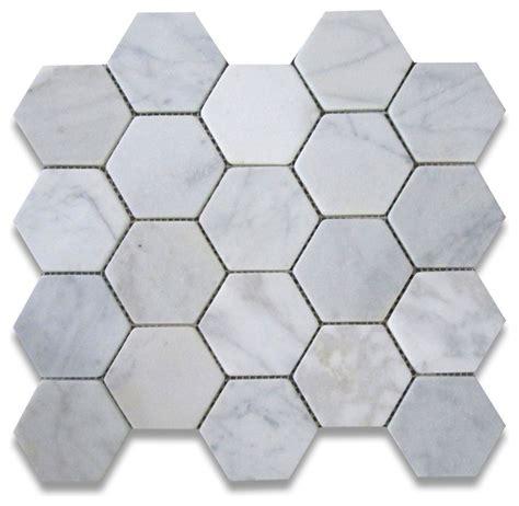 carrara marble hexagon mosaic tile 3 inch tumbled