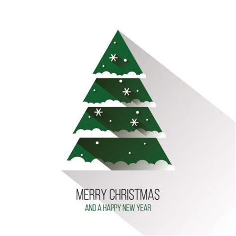 Flat Christmas Tree With Long Shadow Vector  Free Download