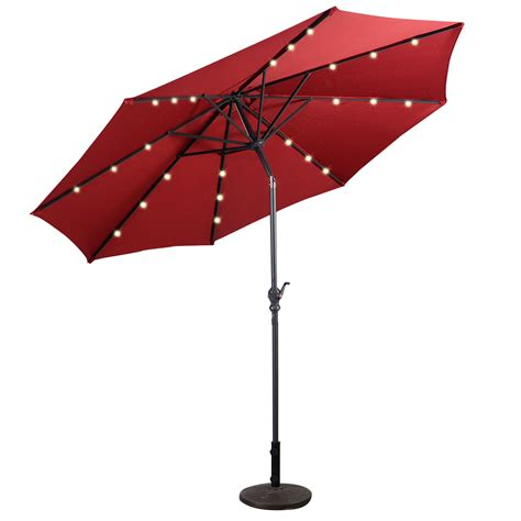 9 deluxe solar powered led lighted patio umbrella walmart