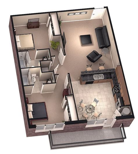 tiny house floor plans small residential unit 3d floor tiny house floor plans brookside 3d floor plan 1 by