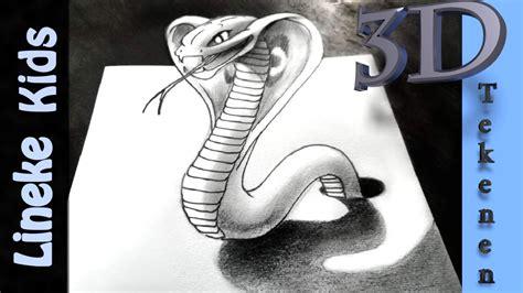 3d Tekenen : 3d Tekenen In Stappen! Slang Cobra Met Grafiet Potlood