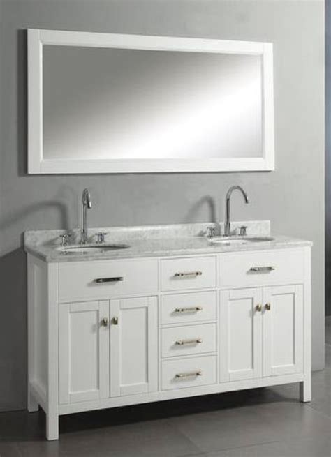 60 inch sink vanity with white finish and italian white marble top uvvu206060