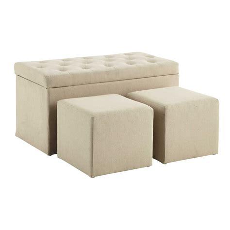 coffre banc 2 poufs en coton beige l 79 cm marceau maisons du monde