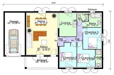 plan maison plain pied avec suite parentale mezzanine terrasse home building plans 43426