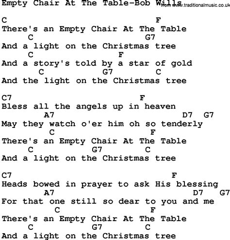 country empty chair at the table bob wills lyrics