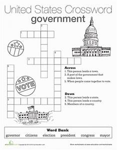 Government Crossword | Worksheet | Education.com