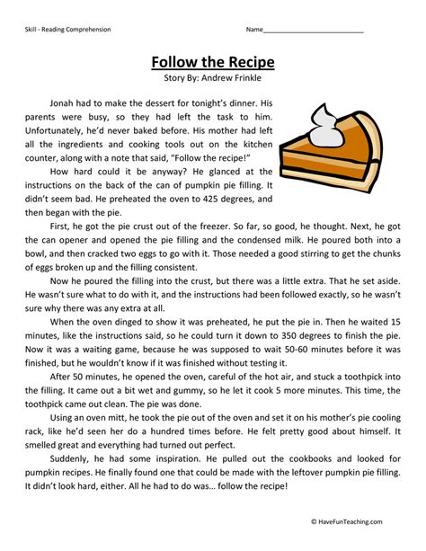 Follow The Recipe  Reading Comprehension Worksheet