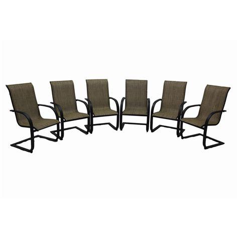 shop garden treasures hayden island 6 count brown steel patio dining chairs with sling