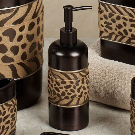 leopard print bathroom decor set cheshire animal print bath accessories